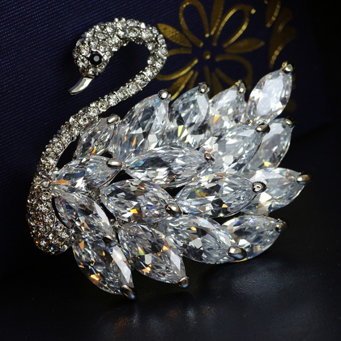 Swan Sparkle Crystal Brooch