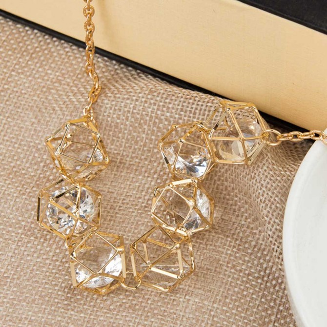 Fashion Geometry Cube Layering Necklace