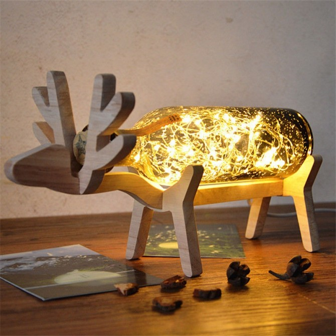 Deer Moose LED Glass Table Lamp Night Light