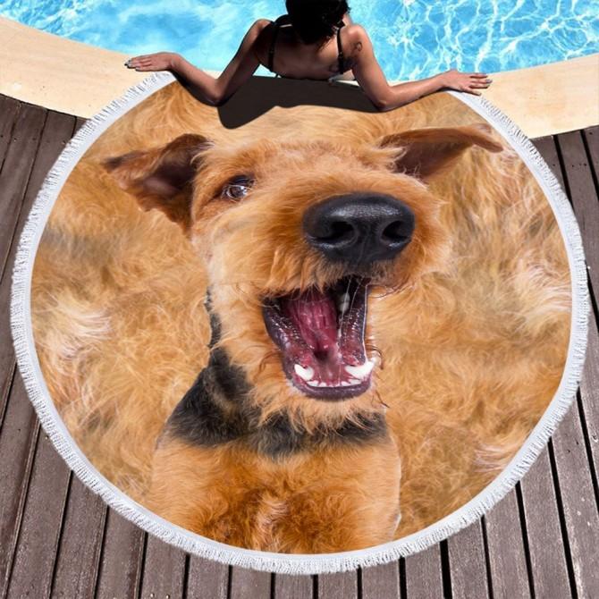 Dog Round Towel Picnic Beach Blanket