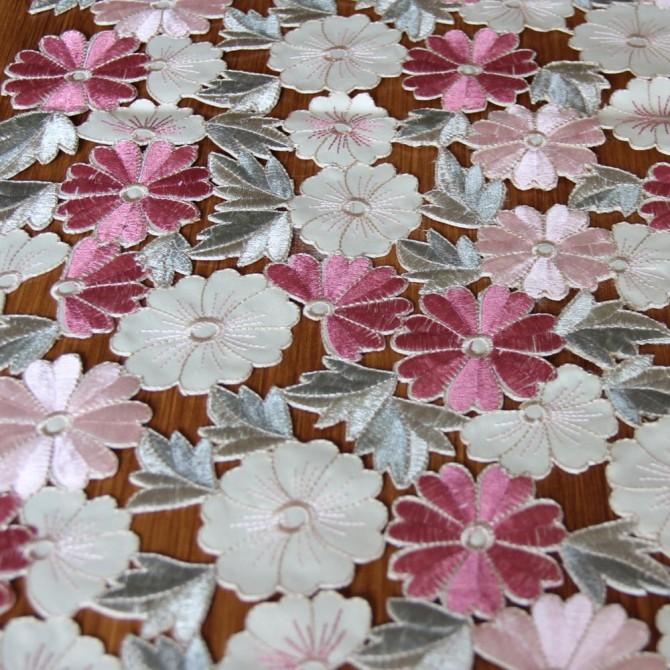 Luxury Daisy Embroidered Cutwork Handmade Pastel Table runner