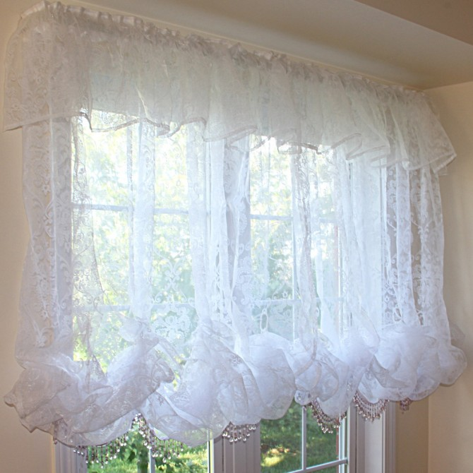 White Chic Baroque Balloon Curtain /Attached Valance