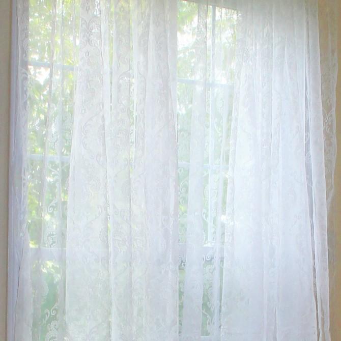 White Damask Curtain