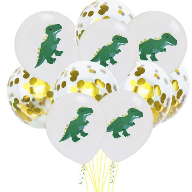 Dinosaur Party Latex Balloons and Confetti Balloons