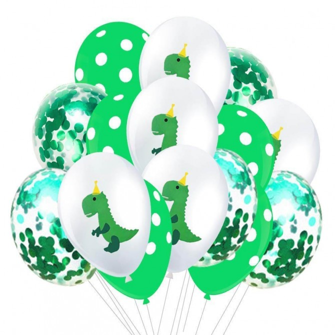 Dinosaur Party Latex Balloons and Confetti Balloons