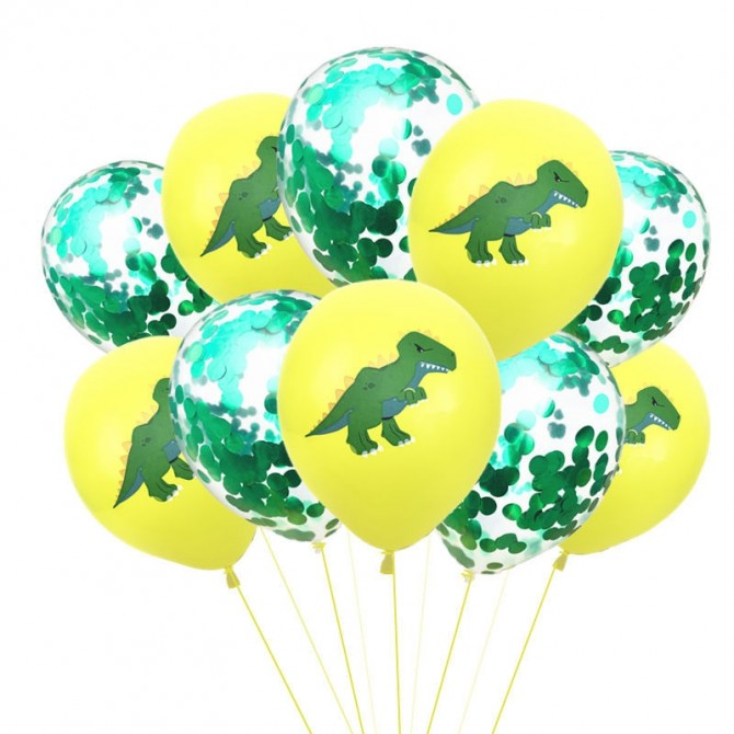 Dinosaur Party Latex Yellow Green Confetti Balloons