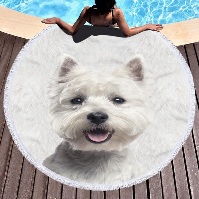 Cute Dog Round Towel Picnic Beach Blanket