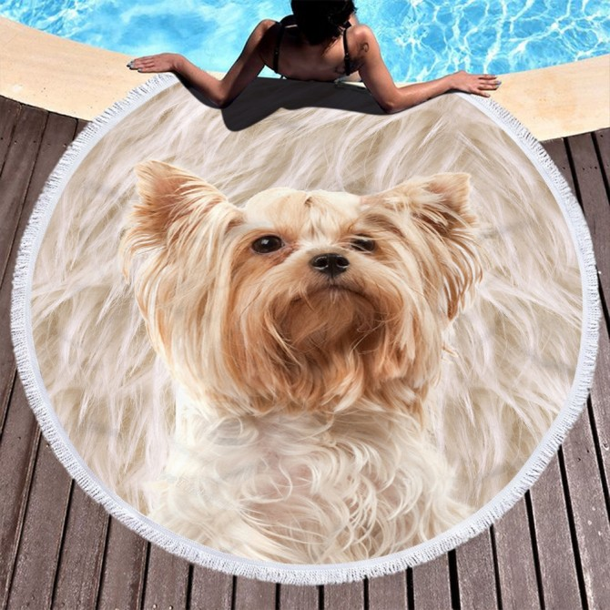 Dog Cute Round Towel Picnic Beach Blanket