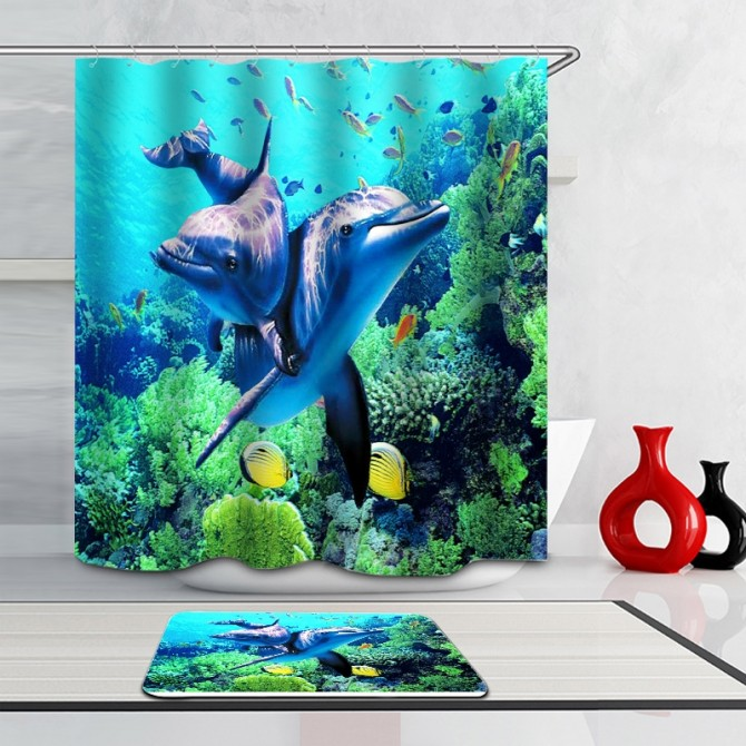 Under the Sea Dolphins Shower Curtain