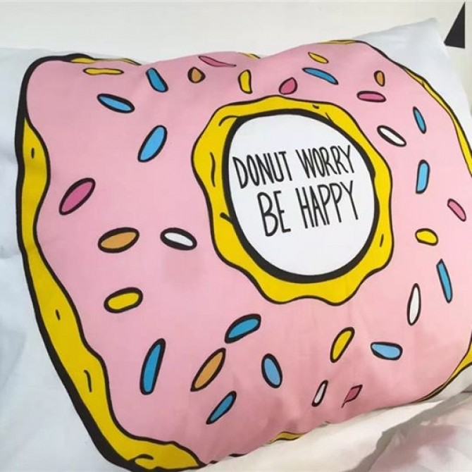 Donut Worry Be Happy Eat Drink Nap Good Night Sleep PIllowcase Set