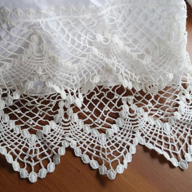 Double Cotton Lace White Bedskirt