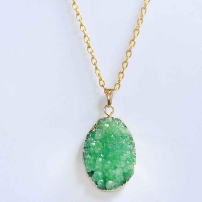 Green Druzy Gemstone Necklace