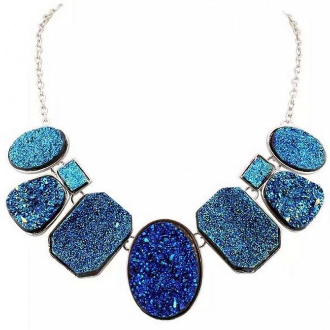 Dazzle Blue Titanium Druzy Necklace