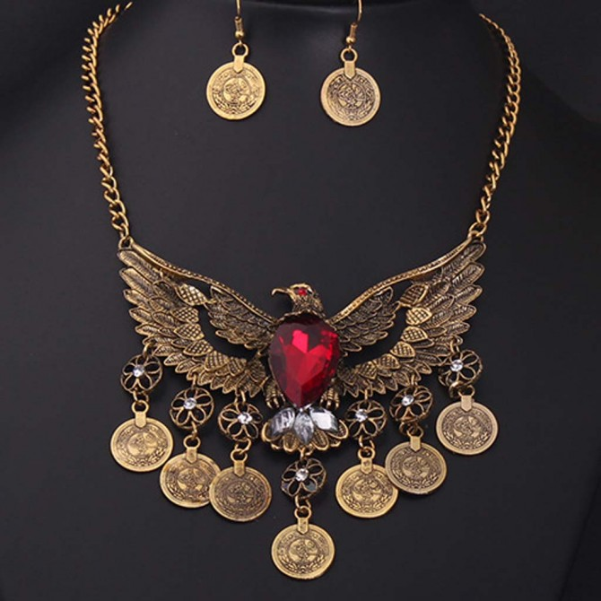 Vintage Red Eagle Necklace