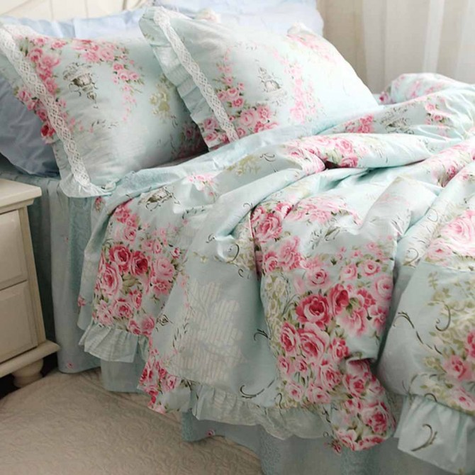 Victorian Blue Rose Bedding