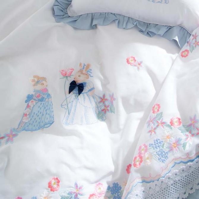 Elegant Rabbit Embroidery Duvet Cover Set
