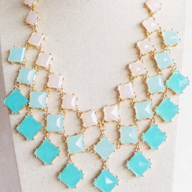 Aqua Square Stone Necklace
