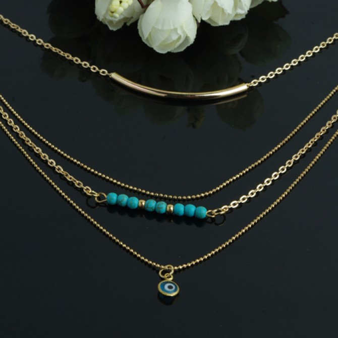 Layered Hanging Evil Eye Turquoise Necklace