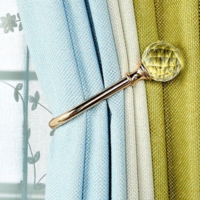 Clear Faced Crystal Curtain Holdback (set of 2)