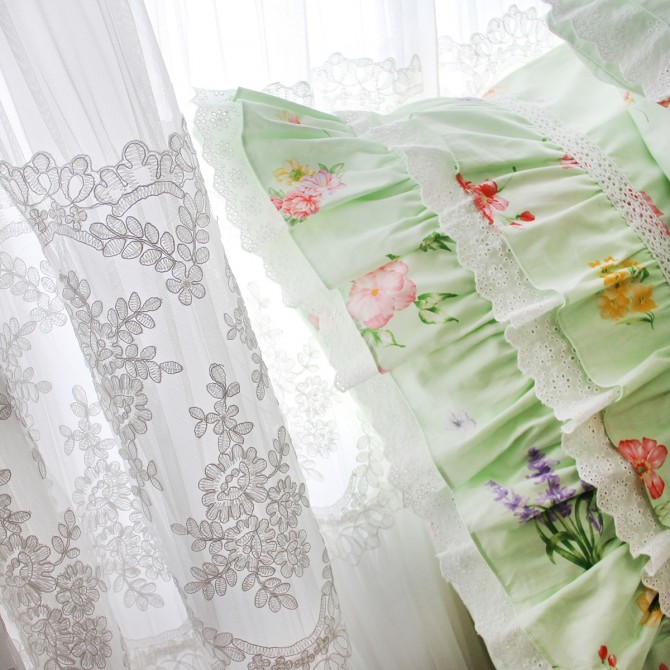 Green Floral Ribbons Bows Ruffled Euro Shams