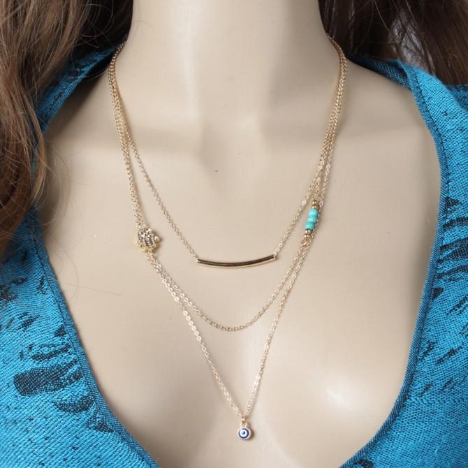 Lariat Layering Hamsa Hand Bar Turqoise Necklace