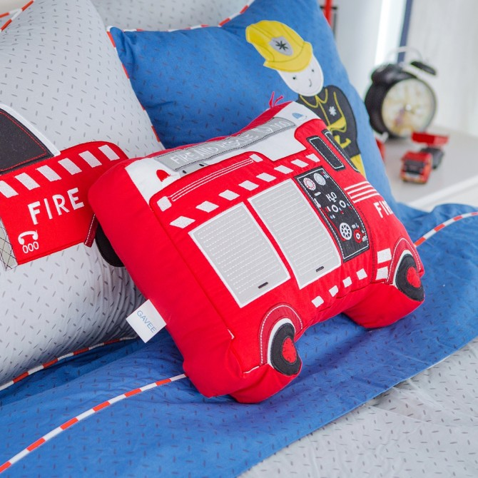Fire Truck Firefighter Plush Cuddle Cushion Toy
