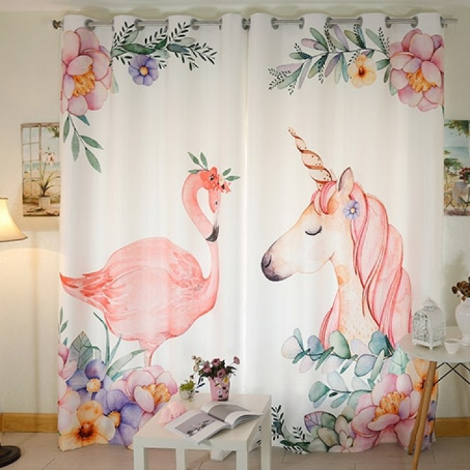 Flamingo Bird Unicorn Curtain Panel Set
