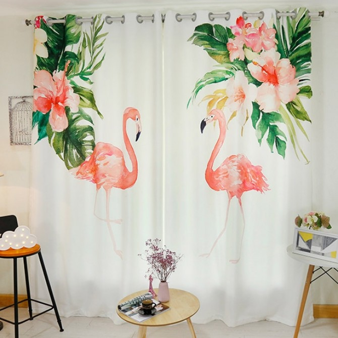 Flamingo Bird Curtain Panel Set