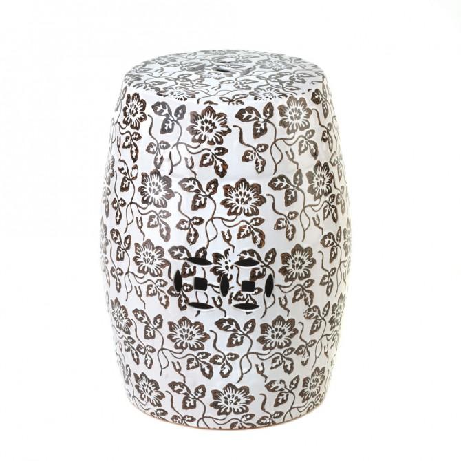 Floral Ceramic Decorative Stool
