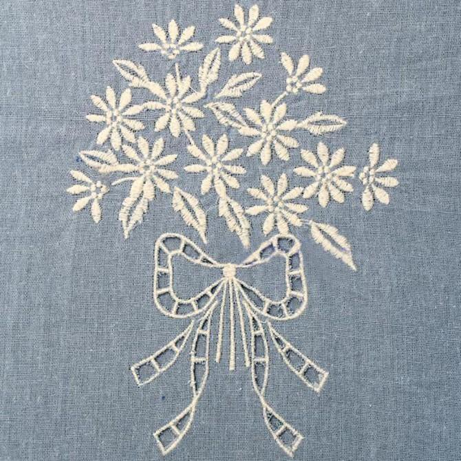 Bouquet Handmade Cutwork Embroidery Panel