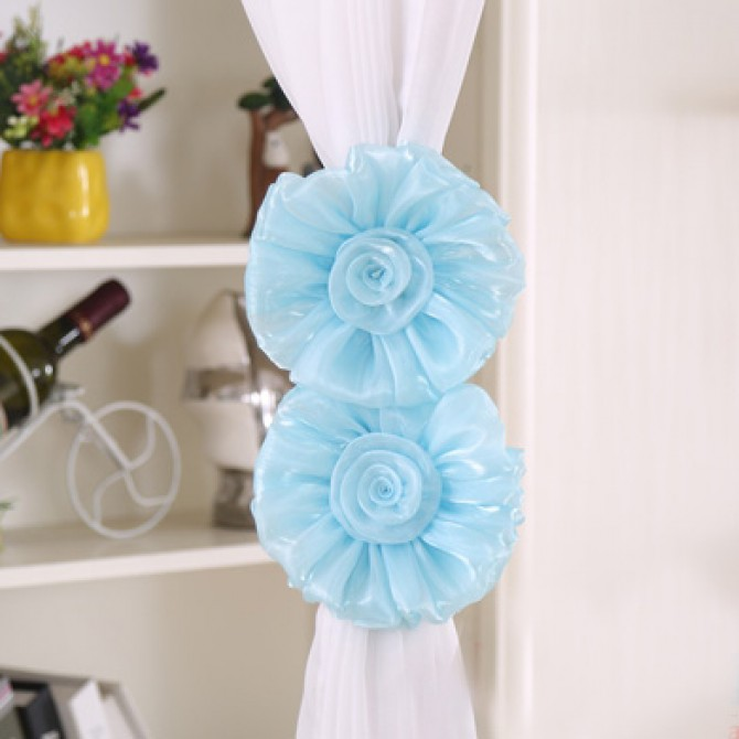 Blue Flower Curtain Tiebacks