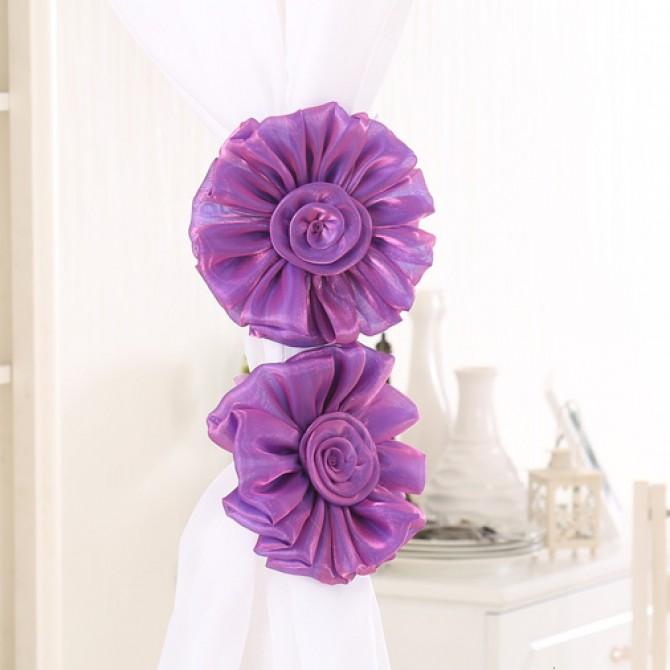 Purple Flower Curtain Tiebacks