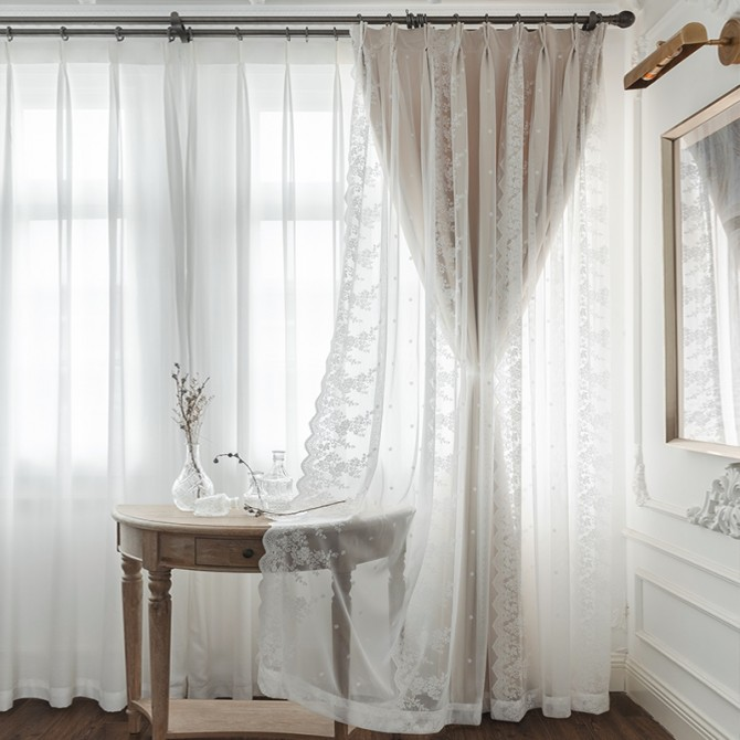 Embroidery Floral Lace Ivory Curtain Set (1 pair)