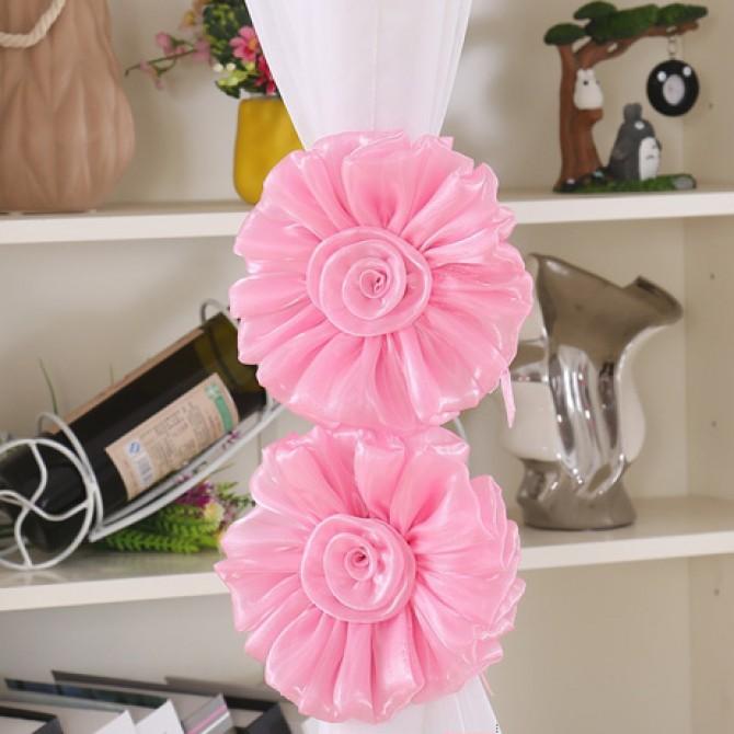 Pink Flower Curtain Tiebacks