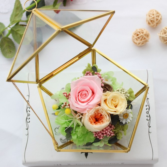 Eternal Rose in Pentagon Glass Box