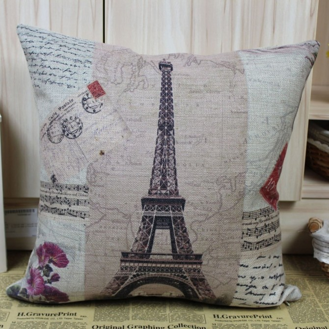 France Paris Eiffel Tower Music Sheet Cushion Cover