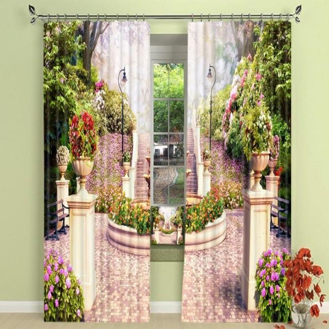Garden Landscape Blackout Curtain Set