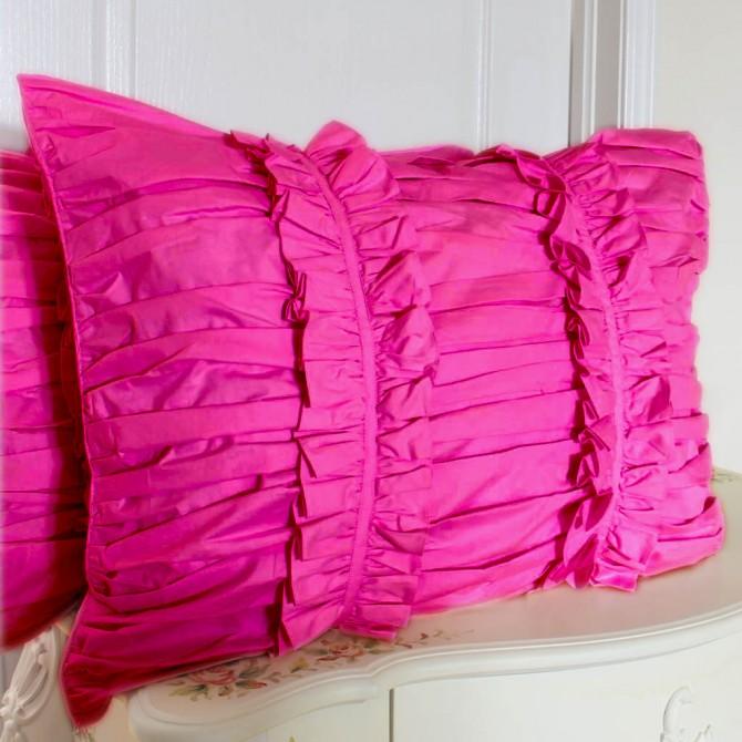 Fuschia Ruched Pillow Sham