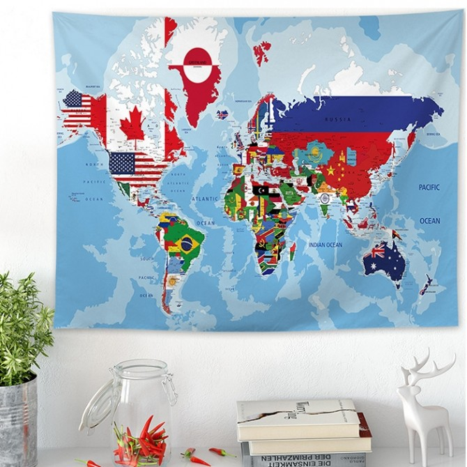 Flags World Map Tapestry