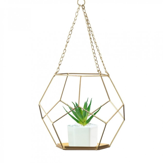 Geometric Plant Holder, Diamond Gold Wire Prism, Succulent Planter Pot