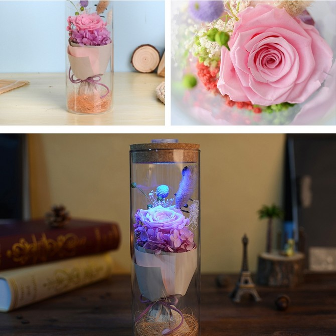Pink Eternal Rose in Glass Colors Changing Night Light