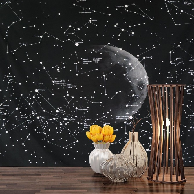 Glow in Dark Universe Stars Constellation Wall Tapestry Backdrop Fabric