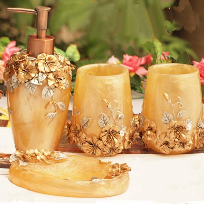 Shabby Chic Golden Bathroom Set 5pcs