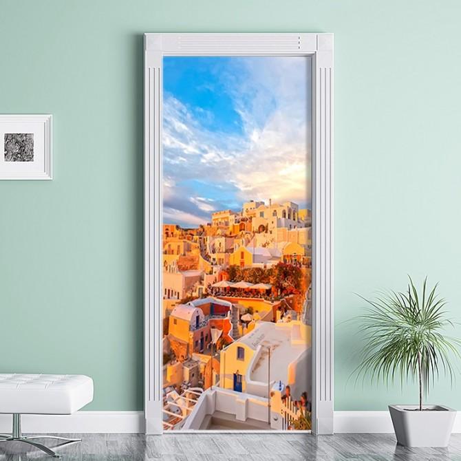 Greek Mediterranean Sky Door Wall Mural Poster Decal
