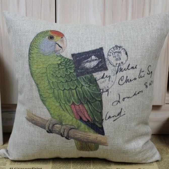 Brazilian Scarlet Green Parrot Cushion Cover