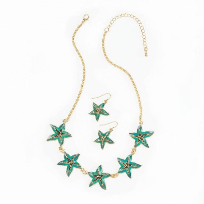 Green Starfish Jewelry Set