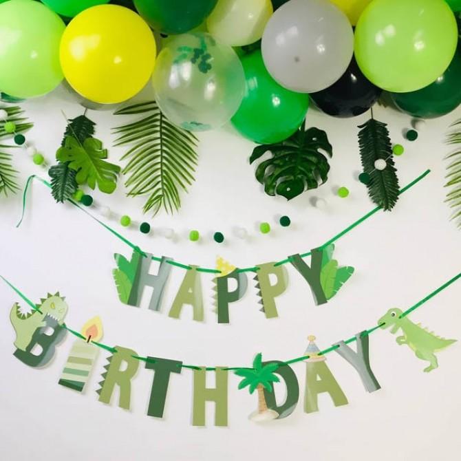 Dinosaur Happy Birthday Party Banner