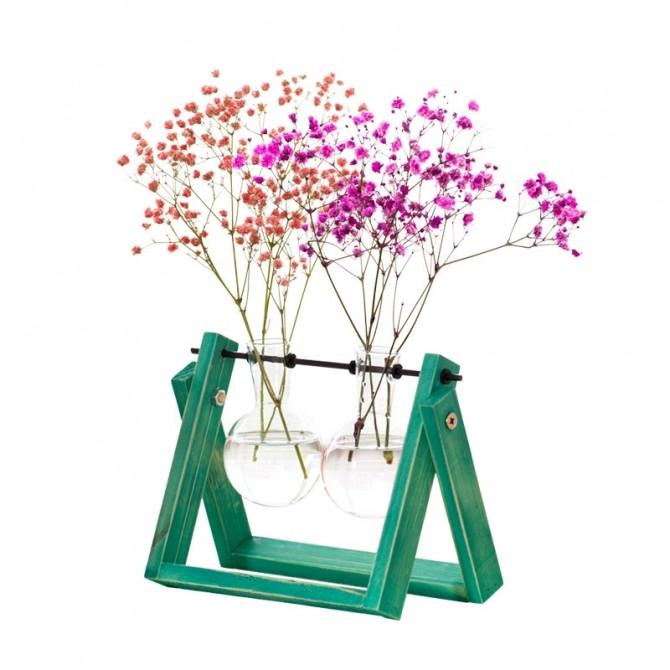 Green Flower Vase Hydroponic Planter