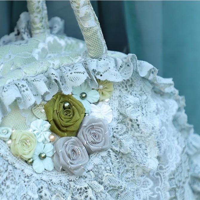 Green Ruffle Lace Bag