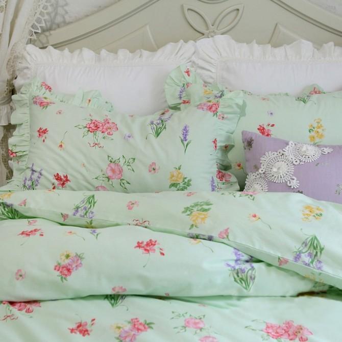 Green Floral Duvet Cover Set